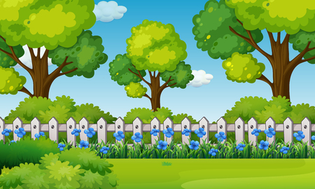 Illustration for Scene with blue flowers in garden illustration - Royalty Free Image