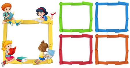 Illustration pour Frame template with happpy children reading books illustration - image libre de droit
