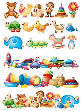 Ilustración de Different types of toys illustration - Imagen libre de derechos