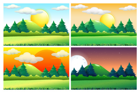 Illustration for Four scenes of green fields at different times of day illustration - Royalty Free Image