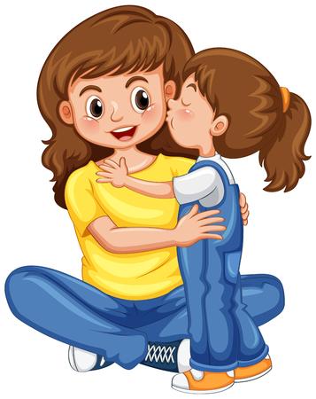 Illustration pour Daughter kissing her mother illustration. - image libre de droit