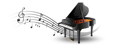 Illustration for Grand piano with music notes illustration - Royalty Free Image