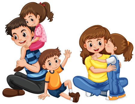 Illustration pour Father and mother with three kids illustration - image libre de droit