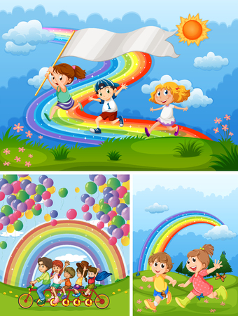 Illustration for Happy people in park with rainbow in background illustration - Royalty Free Image
