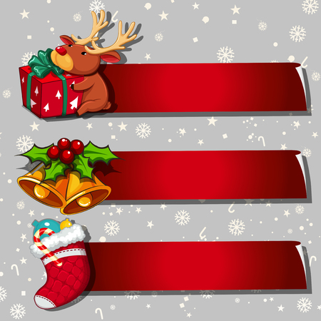 Illustration pour Three banner design with christmas theme - image libre de droit