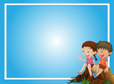 Ilustración de Blue background template with boy and girl on log illustration - Imagen libre de derechos