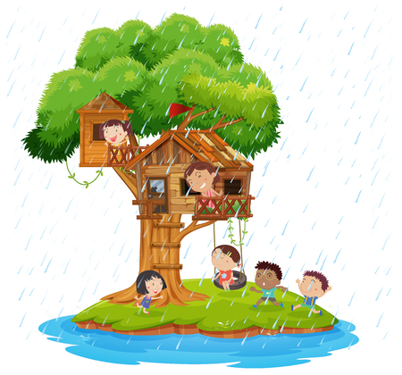 Children playing in the treehouse on island  illustration