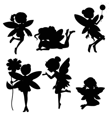 Illustration for Set of fairies silhouette  illustration - Royalty Free Image
