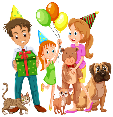 Illustrazione per Family with daughter and many pets illustration - Immagini Royalty Free