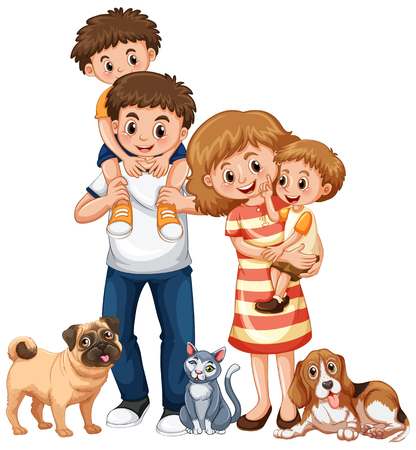 Illustration pour Family with two boys and pets illustration - image libre de droit