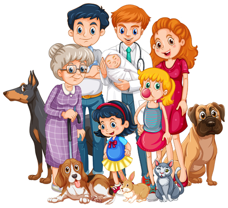 Illustrazione per Family with newborn baby and many pet illustration - Immagini Royalty Free