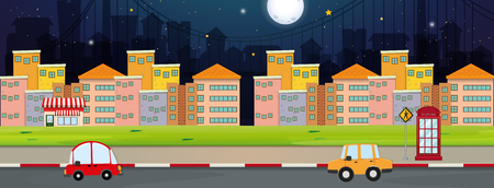 Illustration pour Background scene with buildings and cars in city illustration. - image libre de droit