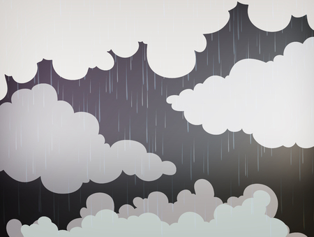 Nature background with rain in the sky Vector illustration.