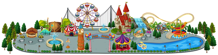 Illustration pour A Fun Amusement Park Map illustration - image libre de droit