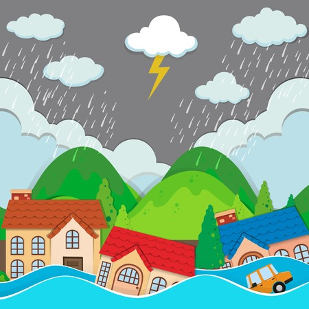 Illustration for An urban city under flood illustration - Royalty Free Image