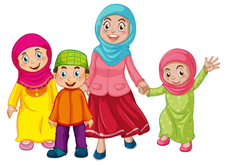 Illustration pour A muslim family on white background illustration - image libre de droit
