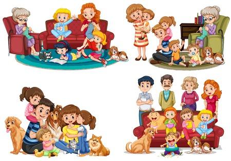 Illustrazione per A set of family member illustration - Immagini Royalty Free