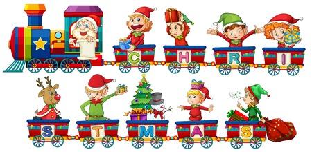 Ilustración de Christmas train on white background illustration - Imagen libre de derechos