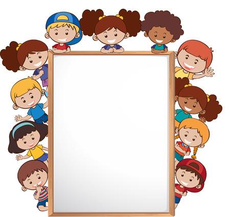 Illustration pour International children and whiteboard template illustration - image libre de droit