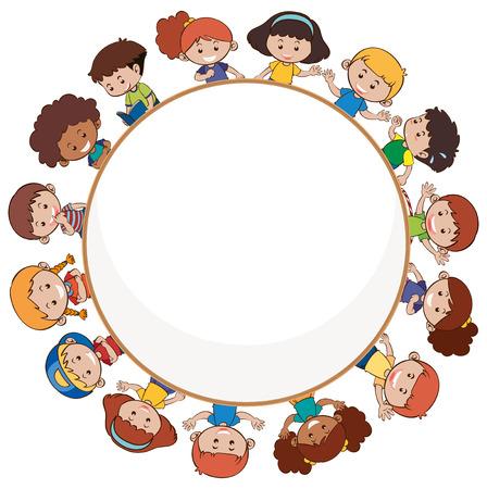 Illustration pour International children with blank template illustration - image libre de droit