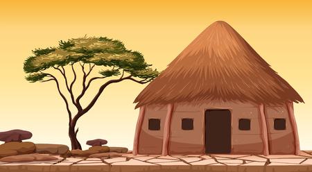 Illustration pour A traditional hut at desert illustration - image libre de droit