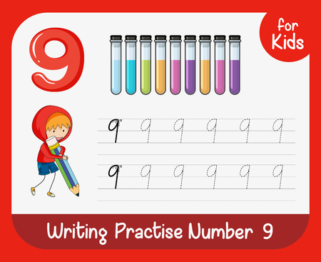 Ilustración de Number nine tracing worksheets illustration - Imagen libre de derechos