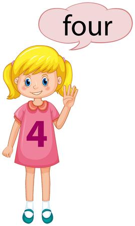 Ilustración de Girl with number four hand gesture illustration - Imagen libre de derechos