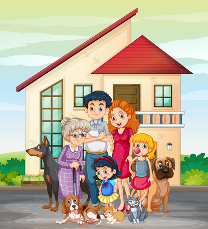 Illustrazione per Family member in front of house illustration - Immagini Royalty Free