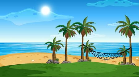 Illustration pour Empty nature beach ocean coastal landscape illustration - image libre de droit