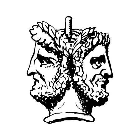 Illustration pour Two-faced Janus. Two male heads in profile, connected by the nape. Stylization of the ancient Roman style. Graphical design. Vector illustration. - image libre de droit
