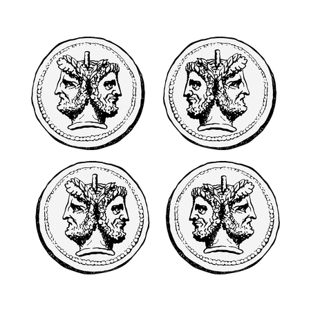 Illustration pour Two-faced Janus. Two male heads in profile, connected by the nape. Stylization of the ancient Roman coin. Graphical design. Vector illustration. - image libre de droit