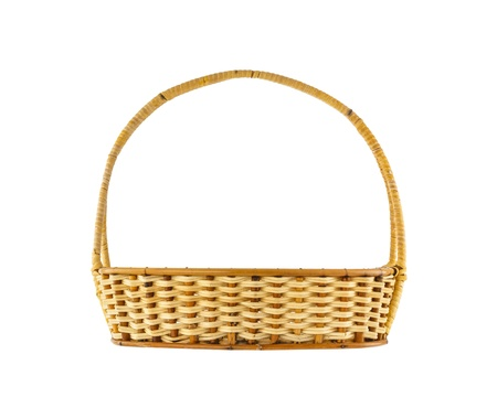 Photo for Empty wicker basket isolated on white background - Royalty Free Image
