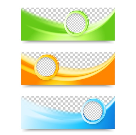 Illustration pour Flyer template header design. Banner design templates collection with bubbles - image libre de droit