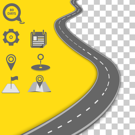 Illustration for Vector path on the road. Background infographic - Royalty Free Image