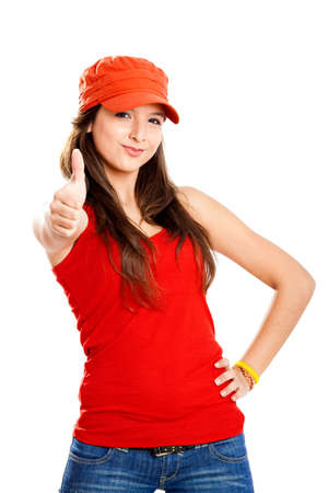 Beautiful and happy young girl with thumbs up, isolated on white