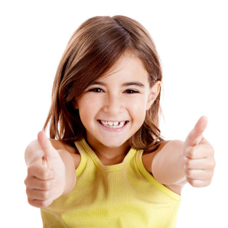 Portrait of a beautiful and confident girl showing thumbs up isolated one white