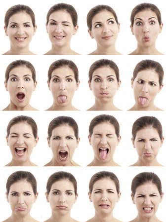 Multiple close-up portraits of the same woman expressing different emotions and expressions