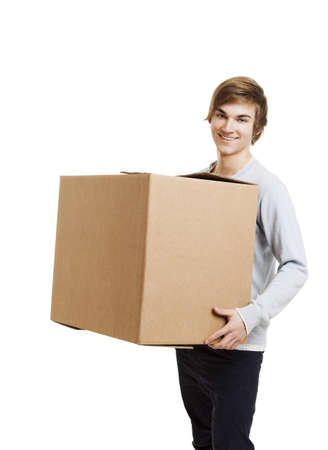 Photo for Portrait of a handsome young man holding a card box - Royalty Free Image