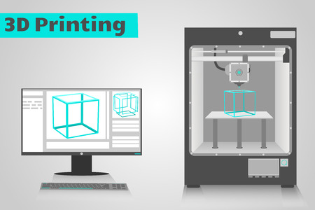 Illustration for 3D printer printing a cyan plastic cube from computer  LCD monitor shows software ui with 3D cube model  - Royalty Free Image
