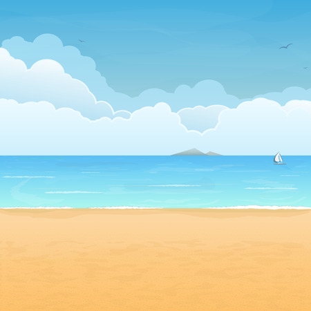 Illustration pour Tropical sand beach, boat in sea, mountain island on horizon and clouds on background - image libre de droit
