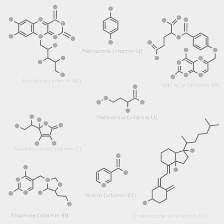Illustration pour Skeletal formulas of some vitamins. Schematic image of chemical organic molecules, nutrients. - image libre de droit