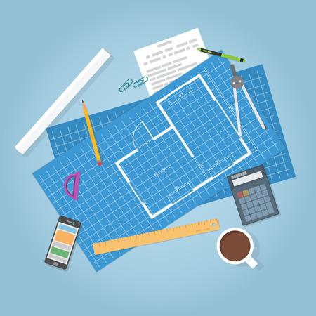 Illustration pour Architectural planning. Top view. Flat items, builder blueprints of house. Engineer data. - image libre de droit