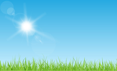 Illustration pour Sun with rays and flares on blue sky. Green grass lawn. - image libre de droit