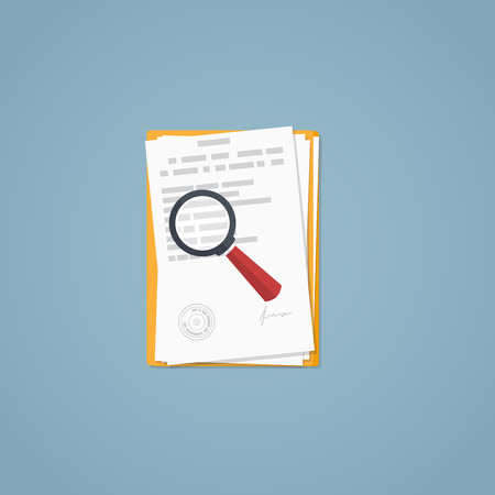 Illustration pour Flat illustration. Documents, magnifying glass, business papers. Signed agreement. Investigation research. - image libre de droit