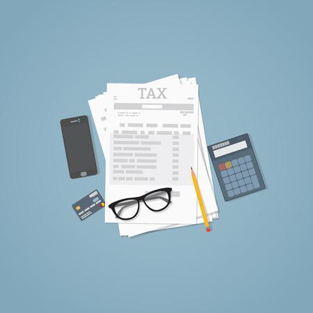 Photo pour Flat illustration. Documents, pencil, business papers, calculator, glasses. Tax calculation. - image libre de droit