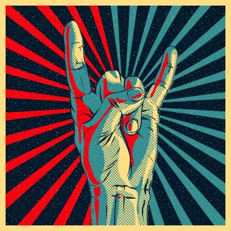 Illustration pour Hand in rock n roll sign illustration. - image libre de droit