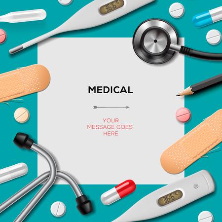 Illustration pour Medical template with medicine equipment - image libre de droit