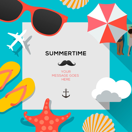 Illustration for Summertime traveling template with beach summer accessories - Royalty Free Image