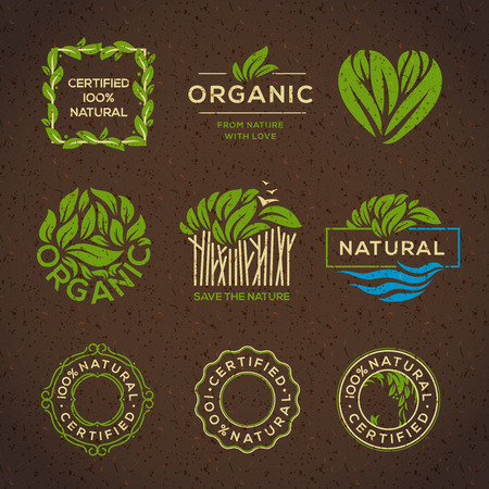 Illustration for Organic food labels and elements, set for food and drink, restaurants and organic products vector illustration. - Royalty Free Image