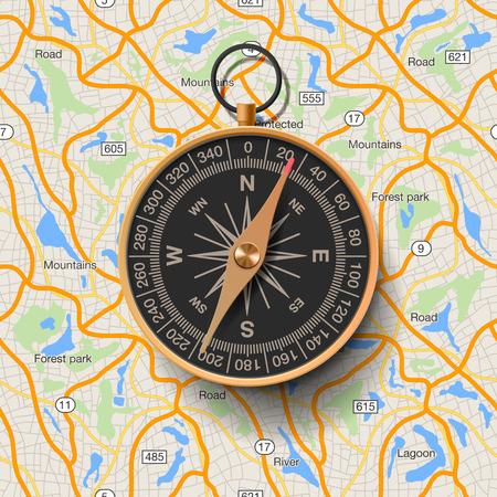 Ilustración de Old compass on map background, vector illustration. - Imagen libre de derechos